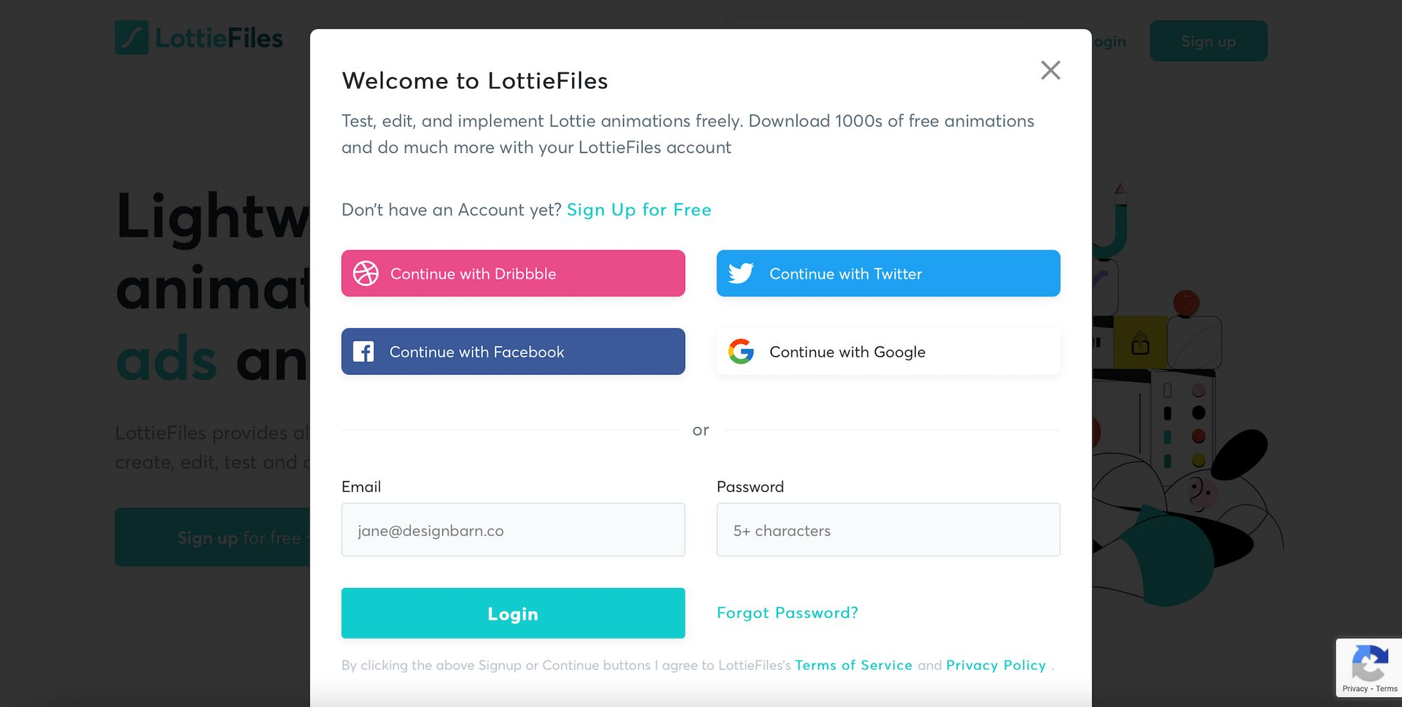 Sing In or Sign Up for LottieFiles